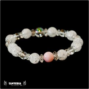 誕生石 10月生まれ  ピンクオパール アクアオーラクリスタル  水晶AAA ペア オススメ 天然石パワーストーン ブレスレット|santeria