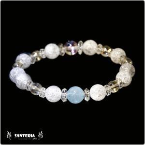 誕生石 3月生まれ  アクアマリン アクアオーラクリスタル  水晶AAA ペア オススメ 天然石パワーストーン ブレスレット|santeria