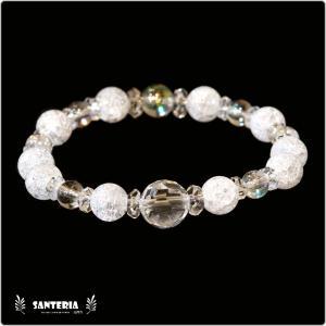 誕生石 4月生まれ  水晶 アクアオーラクリスタル  水晶AAA ペア オススメ 天然石パワーストーン ブレスレット|santeria