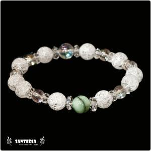 誕生石 5月生まれ  エメラルド アクアオーラクリスタル  水晶AAA ペア オススメ 天然石パワーストーン ブレスレット|santeria