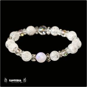 誕生石 6月生まれ  ブルームーンストーン アクアオーラクリスタル  水晶AAA ペア オススメ 天然石パワーストーン ブレスレット|santeria