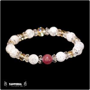 誕生石 7月生まれ  ルビー アクアオーラクリスタル  水晶AAA ペア オススメ 天然石パワーストーン ブレスレット|santeria