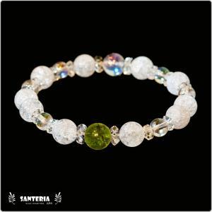 誕生石 8月生まれ  ペリドット アクアオーラクリスタル  水晶AAA ペア オススメ 天然石パワーストーン ブレスレット|santeria
