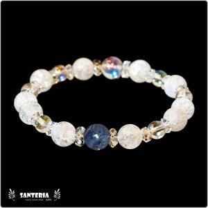 誕生石 9月生まれ  サファイア アクアオーラクリスタル  水晶AAA ペア オススメ 天然石パワーストーン ブレスレット セール|santeria
