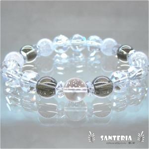 誕生石 4月生まれ  水晶  クラック水晶 ペア オススメ 天然石パワーストーン ブレスレット|santeria