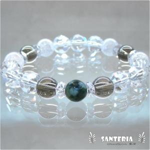 誕生石 5月生まれ  エメラルド スモーキークォーツ 水晶 クラック水晶 ペア オススメ 天然石パワーストーン ブレスレット|santeria