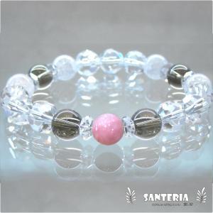 誕生石 10月生まれ  ピンクオパール スモーキークォーツ 水晶 クラック水晶 ペア オススメ 天然石パワーストーン ブレスレット セール|santeria