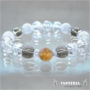 誕生石 11月生まれ  シトリン スモーキークォーツ 水晶 クラック水晶 ペア オススメ 天然石パワーストーン ブレスレット|santeria