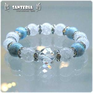 ラリマー  クラック水晶 オススメ 天然石 パワーストーン ブレスレット セール|santeria