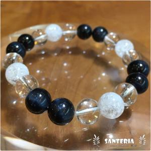 天然石 ブルータイガーアイ クラック水晶 水晶 強運アップ お洒落 ファッション パワーストーン 数珠|santeria