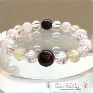 天然石 ガーネット シトリン 水晶 クラック水晶 金運 強運 かっこいい ファッション ブレス|santeria