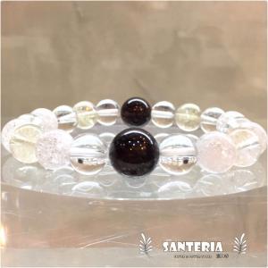 天然石 ガーネット シトリン 水晶 クラック水晶 金運 強運 かっこいい ファッション ブレス|santeria|03