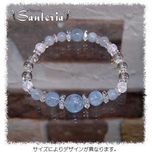 アクアマリンAA 水晶  ブレスレット silver925 ピアス セット|santeria