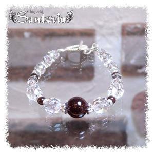 誕生石 1月生まれ  ガーネット クリスタルクォーツ水晶AAA silver925 女性用 天然石パワーストーンブレスレット|santeria