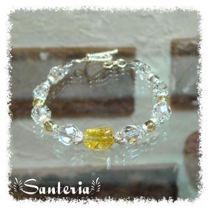 誕生石 11月生まれ  シトリン クリスタルクォーツ水晶AAA silver925 女性用 天然石パワーストーンブレスレット santeria