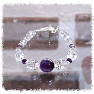 誕生石 2月生まれ  アメジスト クリスタルクォーツ水晶AAA silver925 女性用 天然石パワーストーンブレスレット santeria