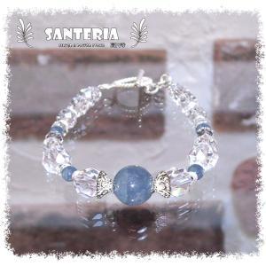 誕生石 3月生まれ  アクアマリン クリスタルクォーツ水晶AAA silver925 女性用 天然石パワーストーンブレスレット|santeria