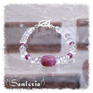 誕生石 7月生まれ  ルビー クリスタルクォーツ水晶AAA silver925 女性用 天然石パワーストーンブレスレット|santeria
