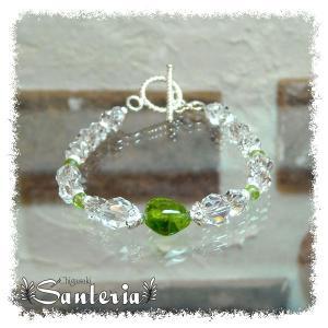 誕生石 8月生まれ  ペリドット クリスタルクォーツ水晶AAA silver925 女性用 天然石パワーストーンブレスレット|santeria