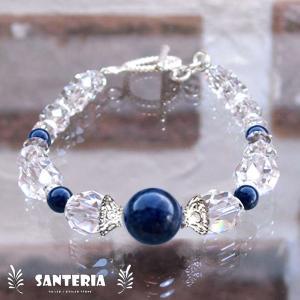 誕生石 9月生まれ  サファイア クリスタルクォーツ水晶AAA silver925 女性用 天然石パワーストーンブレスレット|santeria
