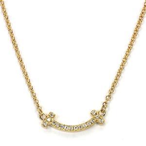 ティファニー TIFFANY ティファニーT スマイルペンダント ネックレス 62617691 K18イエローゴールド マイクロダイヤモンド|santnore