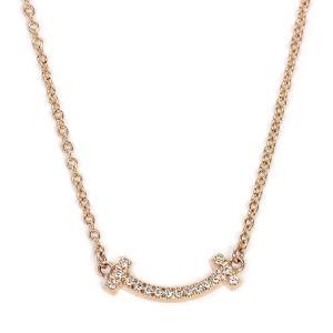 ティファニー TIFFANY ティファニーT スマイルペンダント ネックレス 62617780 K18ローズゴールド マイクロダイヤモンド|santnore