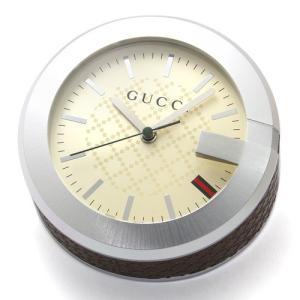 グッチ GUCCI テーブルクロック 置時計 YC210005 アイボリー ステンレス/レザー|santnore
