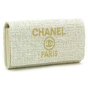 シャネル CHANEL 長財布ファスナー A81976 Y33437 アイボリー ゴールド|santnore