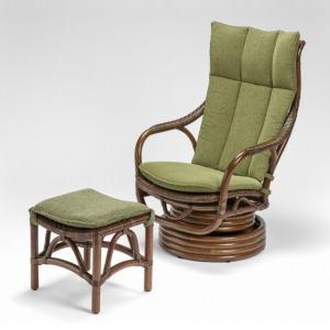 籐肘掛回転椅子 ラタンロッキングシーベルチェア+スツール 布張り着脱クッション仕様 フェルテ ウォールナット色フレーム|sanukiya