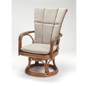 籐肘掛回転椅子 ラタンハイバックシーベルチェア 布張り着脱クッション仕様 デリシア ウォールナット色フレーム アジアンテイスト|sanukiya