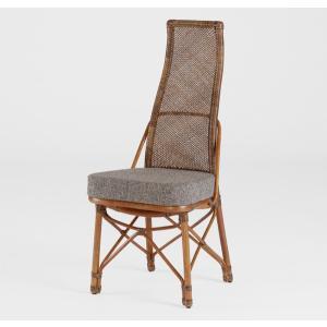 籐肘無食堂椅子 ラタンハイバックダイニングチェア シルフ アンティークブラウン色 布張り アジアンテイスト|sanukiya