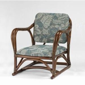 籐肘掛椅子 省スペースラタンアームチェア 布張りクッション仕様 クレドアームロータイプ ウォールナット色フレーム アジアンテイスト|sanukiya