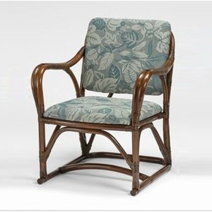 籐肘掛椅子 省スペースラタンアームチェア 布張りクッション仕様 クレドアームミドルタイプ ウォールナット色フレーム アジアンテイスト|sanukiya
