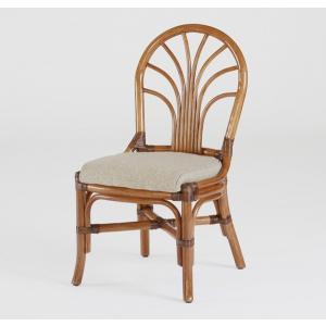 籐肘無食堂椅子 ラタンダイニングチェア ニューカシミールアームレス アンティークブラウン色 布張り|sanukiya
