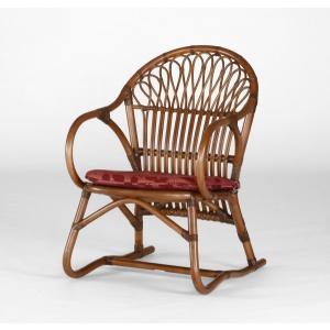 籐肘掛椅子 ラタンクアームチェア 布張りクッション仕様 セリオアーム ウォールナット色フレーム アジアンテイスト|sanukiya