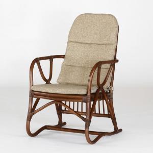 籐肘掛椅子 ラタンアームチェア 布張りクッション仕様 ネオスアーム ウォールナット色フレーム アジアンテイスト|sanukiya