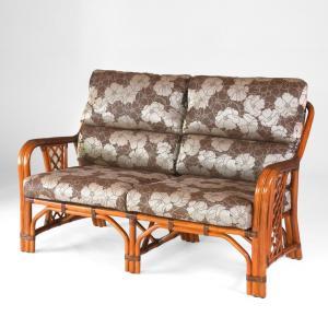 籐 ラタン二人掛けハイバックソファー アンティークブラウン色フレーム 布張りクッション|sanukiya