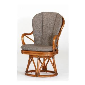 籐肘掛回転椅子 ラタンハイバックシーベルチェア フレスハイタイプ アンティークブラウン色 布張り着脱クッション仕様|sanukiya