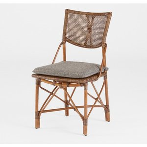 籐肘無食堂椅子 ラタンダイニングチェア エルフアームレス アンティークブラウン色 布張り アジアンテイスト|sanukiya