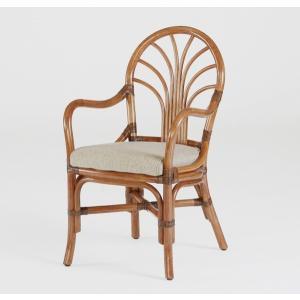 籐肘付食堂椅子 ラタンダイニングチェア ニューカシミールアーム アンティークブラウン色 布張り|sanukiya