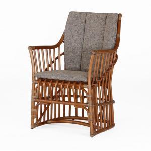 籐肘掛椅子 ラタンハイバックアームチェア 布張りクッション仕様 ジャスティン ウォールナット色フレーム アジアンテイスト|sanukiya