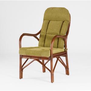 籐肘掛椅子 ラタンハイバックアームチェア 布張りクッション仕様 アルテLDアーム ウォールナット色フレーム アジアンテイスト|sanukiya