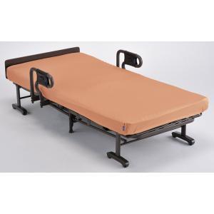 連休中も発送が出来ます アテックス 収納式リクライニングベッド(ダブルギア) AX-BG557 洗えるオレンジ色マットカバー付き シングル|sanukiya