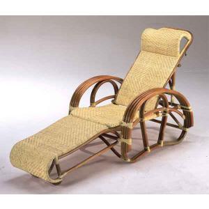 籐椅子 ラタンチェア 三つ折寝椅子 ナチュラル色 C-104Aの写真