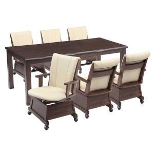 ハイタイプこたつ/ダイニングコタツ こたつ楓(かえで)180センチ幅、長方形+肘付椅子6脚の7点セット ダークブラウン色|sanukiya
