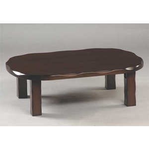 座卓 ローテーブル 楕円形 折りたたみ和風座卓  天然木タモ板目 120センチ巾|sanukiya