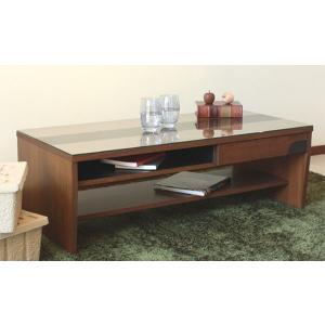 長方形引出し付きガラステーブル 105センチ巾 ブラウン色 クアトロ|sanukiya