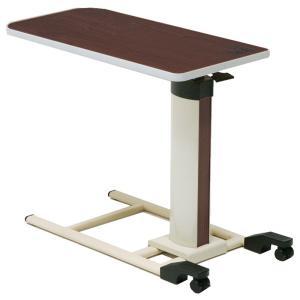 コイズミ 木目調 ベッドサイドテーブル(ガス圧式) キャスター付 KXT-070|sanukiya