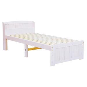 木製セミシングルベッド ショートサイズ すのこ床板ベットフレーム シングル ウォッシュホワイト色(木...
