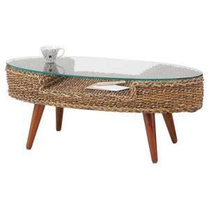 アバカ楕円形ガラステーブル 105センチ巾|sanukiya